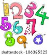 vector hand drawn doodle little star numbers, hand-drawing style, sweet design - stock vector