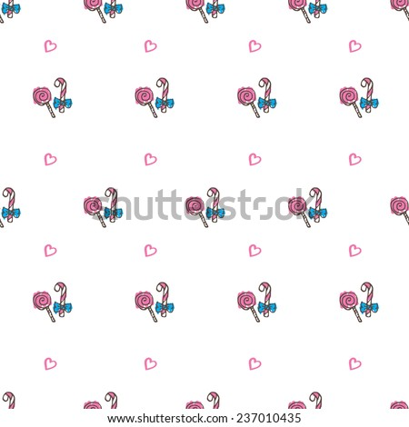 Vector hand drawn doodle lollipop seamless pattern - stock vector