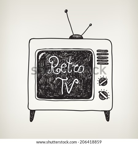 vector hand drawn doodle retro tv isolated - stock vector