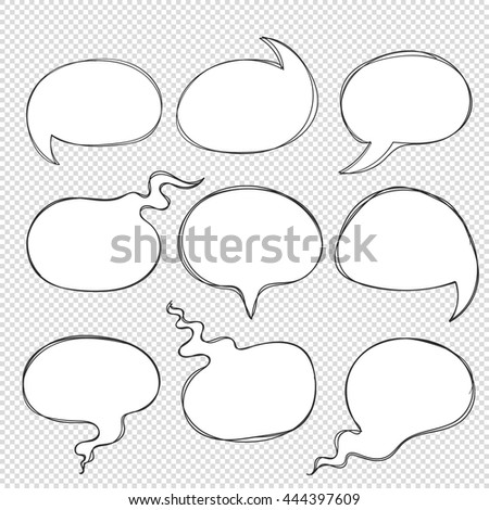 Vector hand drawn doodle round speech bubbles. Think speak circle line with shadow scribble on transparent background. Comic element show idea talk speech thought word sentence conversation dialogue