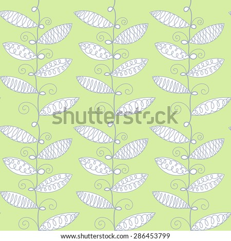 Vector hand drawn doodle sweet peas plant background. Seamless pattern. - stock vector