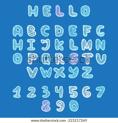 Vector hand drawn doodle uppercase colorfull font in sketch style