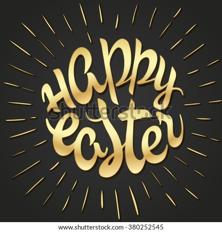 vector hand drawn easter lettering golden greeting quote with splashes. - stock vector