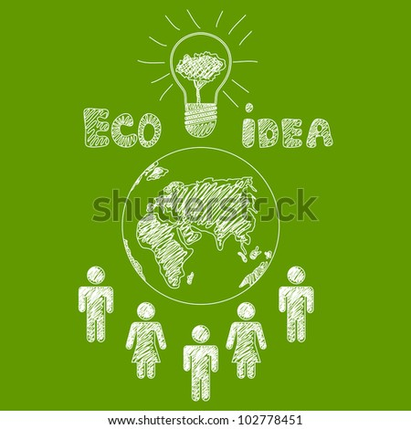 Vector hand drawn ecology design - stock vector