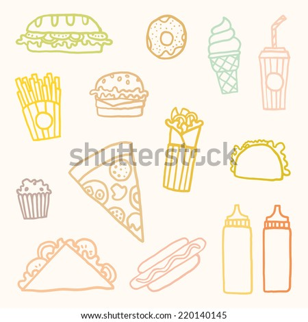 Vector hand drawn fast food - stock vector