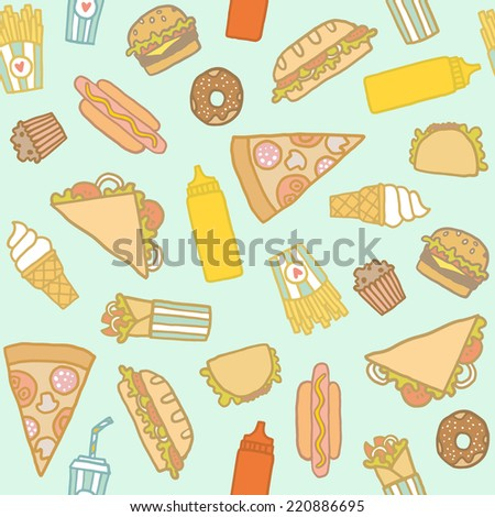 Vector hand drawn fastfood seamless pattern - stock vector