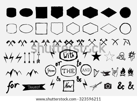 Vector hand drawn figurative shapes and badges for label, logo, insignias design. - stock vector