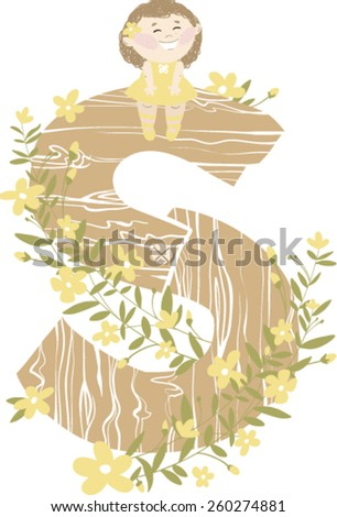 "Vector hand drawn Floral and Wooden children monogram with sitting funny little girl  and yellow spring flowers. Letter ""S"" is perfect for your design - flyers, posters, invitations, cards and so on. - stock vector"