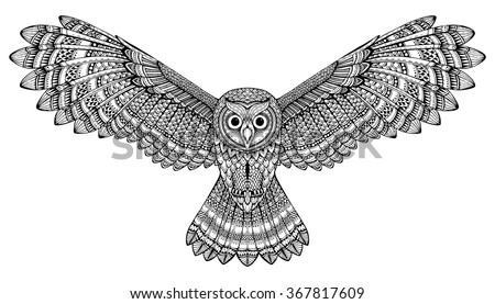 vector hand drawn flying owl black and white zentangle art ethnic patterned illustration for