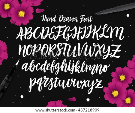 Vector Hand Drawn Font. White Letters Isolated on Black Background. Capital and lowercase letters of the English alphabet for your designs: logo, greeting cards, etc. Alphabet written with brush pen.  - stock vector