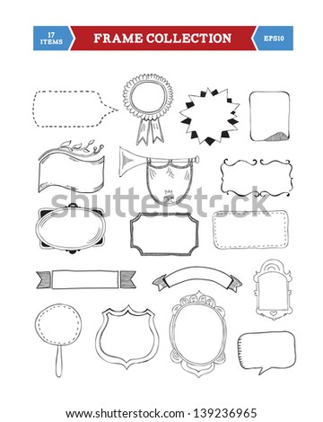 Vector hand drawn frames collection with space for your text, different variations, full scalable vector graphic for easy editing and color change - stock vector