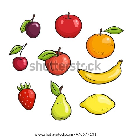 Vector hand drawn fruits set isolated on white background