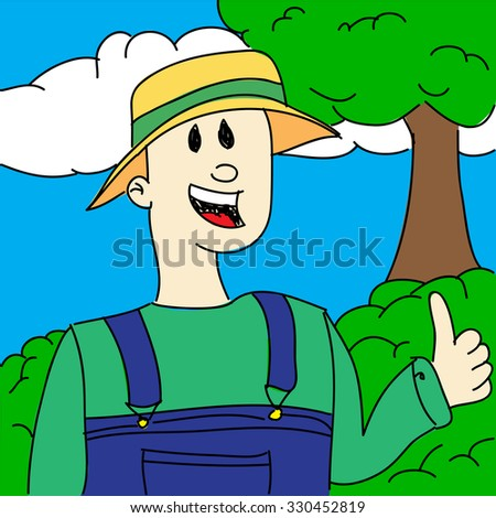 Vector hand drawn gardener showing thumbs up.
