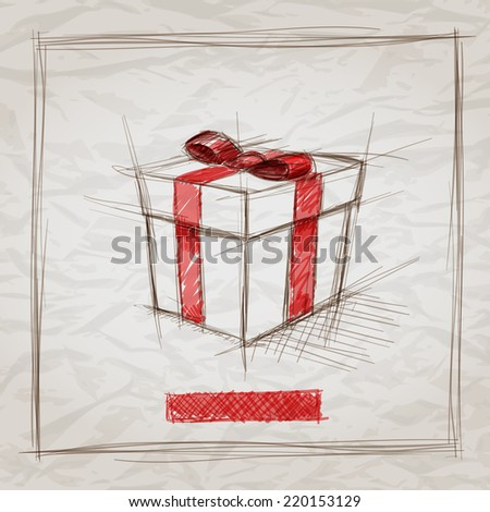 Vector hand drawn gift box sketch illustration. Elements are layered separately. Easy editable. - stock vector
