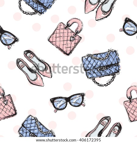 Vector hand drawn graphic fashion sketch flat shoes, clutch, leather handbag, vintage glasses. Trend soft colored glamour fashion seamless pattern in vogue style. Isolated elements on white background - stock vector