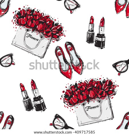 Vector hand drawn graphic fashion sketch  flat shoes, couple lipstick, vintage glasses, flowers bag. Trend graphic contrasty glamour fashion seamless pattern in vogue style. Isolated elements - stock vector