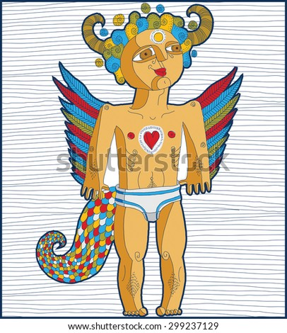 Vector hand drawn graphic lined illustration of symbolic character, cartoon nude man with wings, animal side of human being. Love concept, idol allegory drawing.  - stock vector