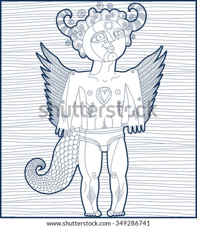 Vector hand drawn graphic stripy illustration of weird creature, cartoon nude male with wings. Animal side of human being. Idol concept, spirit art allegory drawing.  - stock vector