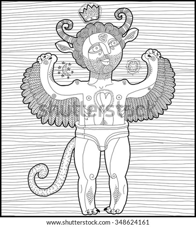 Vector hand drawn graphic stripy illustration of weird spirit, cartoon nude man with wings, animal side of human being. Idol concept, artistic allegory drawing.  - stock vector