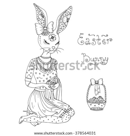 Vector hand drawn greeting card with Happy easter ornaments symbols. Easter Bunny Girl in dress sitting and holding easter eggs, standing next to a basket of Easter eggs, original phrase Easter Bunny