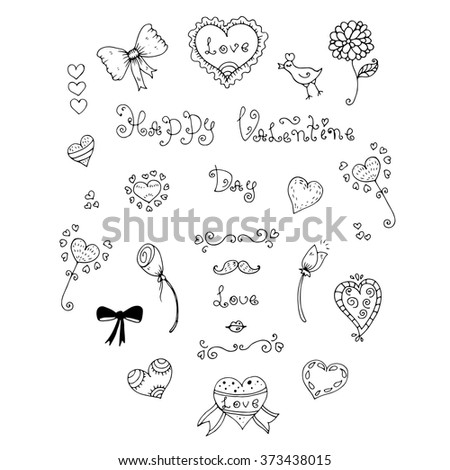 Vector hand drawn greeting card with Valentine's Day symbols. Set  with original hand drawn phrase Happy Valentine Day, love, bird, flowers, mustaches, lips, ornament and heart. On a white background - stock vector