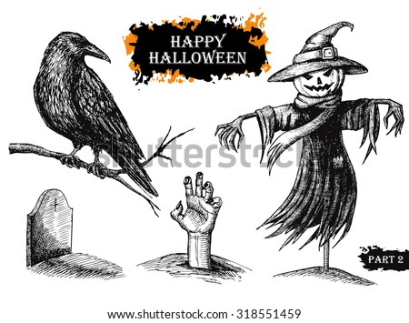 Vector hand drawn Halloween set. Vintage illustration. Great for party invitation cards and other decor - stock vector