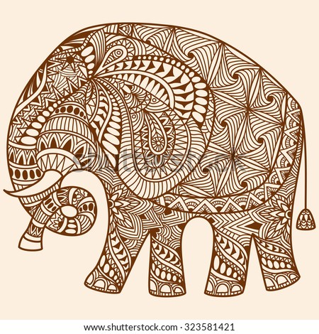 vector hand-drawn Henna mehndi tattoo doodle with  decorated Indian Elephant - stock vector