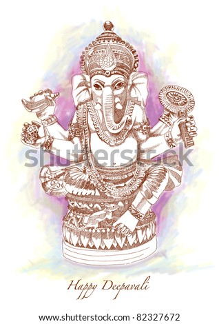 Vector Hand Drawn Hindu God Ganesh - stock vector