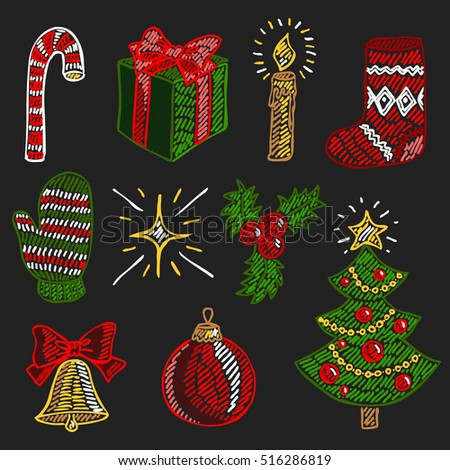 Vector hand-drawn illustration collection of christmas attributes and symbols in cartoon or decorative embroidery style. Design best for posters, banners, patterns, fabric prints, cards.