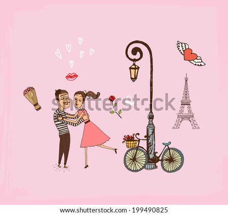 Vector hand-drawn illustration of a loving romantic couple on a Paris vacation running into each others arms alongside a bicycle propped up against an old style lamppost with the Eiffel Tower behind - stock vector