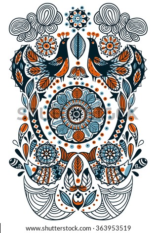 vector hand drawn illustration of abstract birds, fishes and folk ornaments
