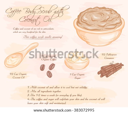 vector hand drawn illustration of coffee scrub with coconut oil recipe. - stock vector