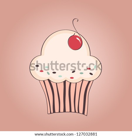 Vector hand drawn illustration of cupcake with cherry - stock vector