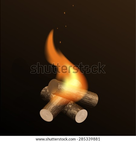 Vector hand drawn illustration of flaming fire. - stock vector