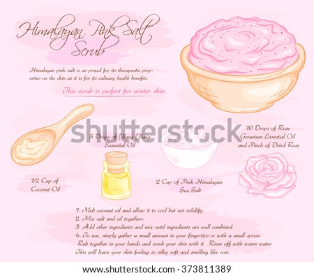 vector hand drawn illustration of hymalayan pink rose salt scrub recipe. - stock vector