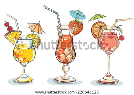 Vector hand drawn illustration of tropical cocktail. - stock vector