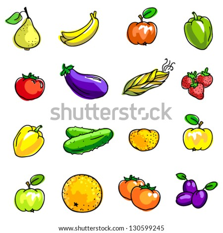 Vector hand drawn illustration of vegetables and fruits in bright colors: bananas, plums, apples, orange, strawberries, paprika, cucumber, potatoes, eggplant, corn etc.