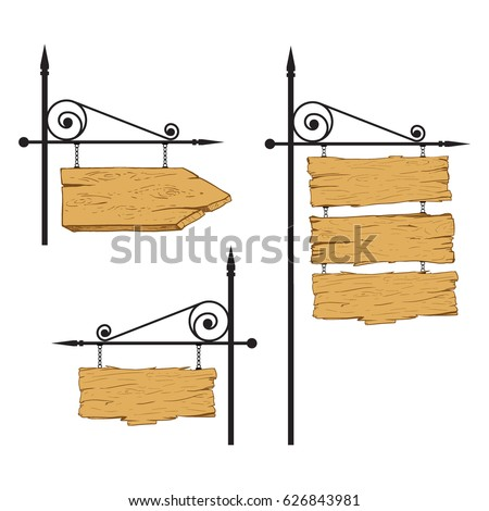Vector hand drawn illustration of wooden signboard hanging on the wrought-iron frame in cartoon style.