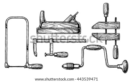 Vector Hand Drawn Illustration Woodworking Tools Stock Vector