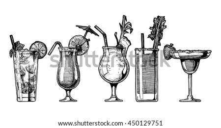 Vector hand drawn illustration set of alcohol cocktails. Mojito, sex on the beach, pina colada, bloody mary and strawberry margarita.