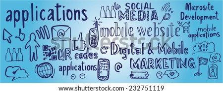 vector hand drawn illustration set of social media signs and symbol doodles elements - stock vector