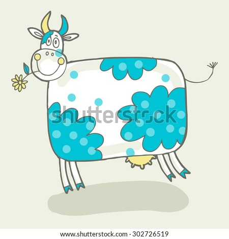 Vector hand-drawn illustration with cow in a village