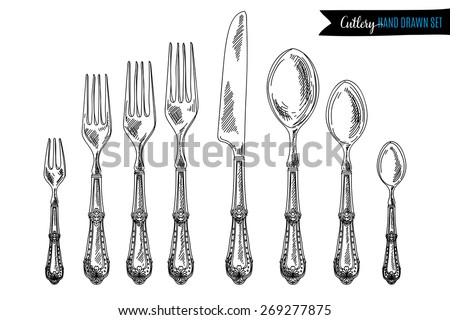Vector hand drawn illustration with cutlery set. Sketch. Vintage illustration. - stock vector