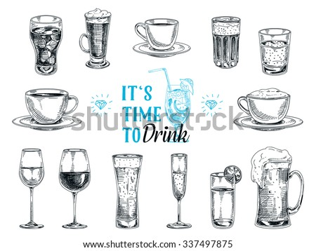 Vector hand drawn illustration with drinks. Sketch. - stock vector