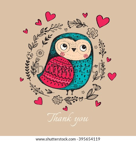 Vector hand drawn illustration with funny owl. Beautiful card with cute little owl.  - stock vector