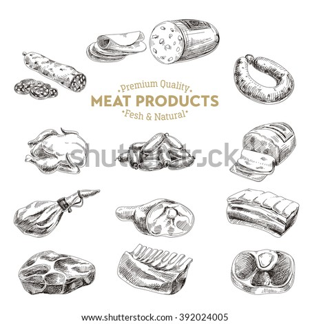 Vector hand drawn Illustration with meat products. Sketch. Vintage style. Retro background.  - stock vector