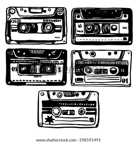 Vector hand-drawn illustration with old audio cassete. - stock vector