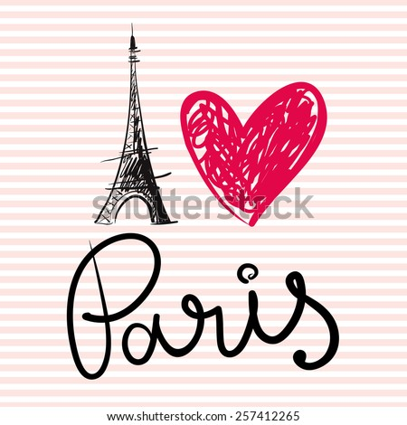 Vector hand drawn illustration with Paris symbol. Eiffel tower. I love Paris. - stock vector