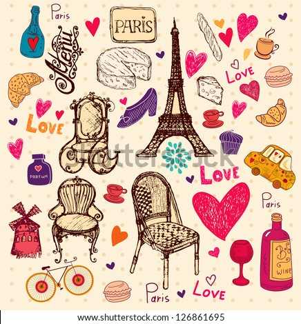 Vector hand drawn illustration with Paris symbols - stock vector