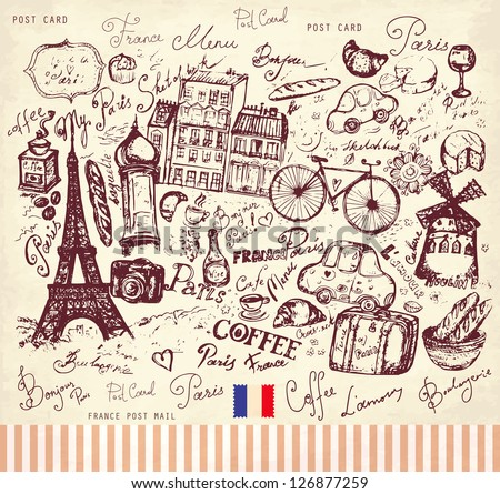 Vector hand drawn illustration with Paris symbols - stock vector